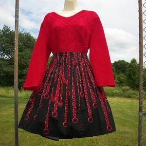 Bright Ruby Red Shirt & Skirt Set